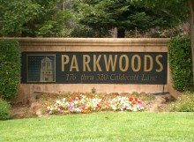 Front signage for Parkwoods condo